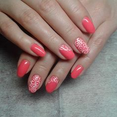 Coral mani decorated with lace nail stickers :: one1lady.com :: #nail #nails #nailart #manicure