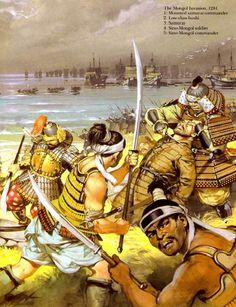 Samurai & ashigaru repel theMongol invasion in 1281 - art by Angus McBride