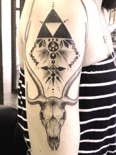 deer skull & geometry #arm #tattoos
