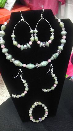 Green paper beads w/ pink glass beads necklace set by tasonya2, via Flickr