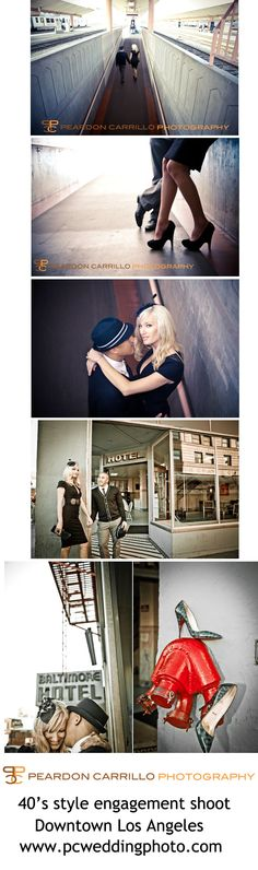 We love doing theme engagement shoots!  This was a cool 40's style engagement shoot that we did in Downtown Los Angeles.