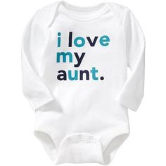 """Old Navy """"I Love My Family"""" Bodysuits For Baby Size 12-18 M - On white"""