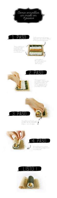 como enrollar un sushi en 4 pasos Sushi Seaweed, Vegan Sushi, Japanese Food, Cooking Recipes, Homemade, Healthy, Japanese Recipes, Roll Ups, Lunch