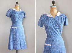 vintage 1930s calico wrap dress.