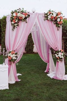 Pink wedding canopy arbor for spring wedding decorations, birthday party decorations outdoors, wedding ceremony decor, wedding anniversaries, bridal showers, girl baby shower decorations and more! Click to shop wedding backdrop drape panels, artificial flowers, fabric rolls, tablecloths, and more! #pinkwedding #pinkweddingtheme #pinkwedddingdecorations #weddingcanopy #wedddingcanopyoutdoor Outdoor Wedding Backdrops, Wedding Reception Backdrop, Wedding Canopy, Spring Wedding Decorations, Decor Wedding, Wedding Cakes, Wedding Ideas, Pink Wedding Theme, Floral Wedding
