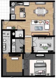 Ház alaprajzok Top 40 Floor Plan Ideas - Engineering Discoveries A vast array of vital informatio Small House Floor Plans, Dream House Plans, House Layout Plans, House Layouts, 3d Interior Design, Interior And Exterior, Single Apartment, Co Housing, House Construction Plan
