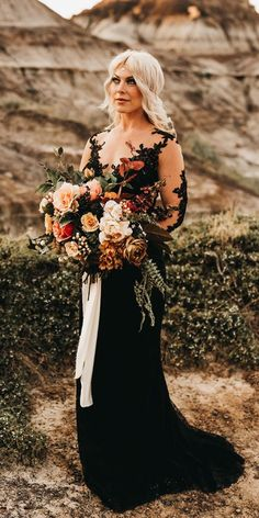 33 Beautiful Black Wedding Dresses That Will Strike Your Fancy ❤ black wedding dresses sheath with illusion sleeves lace country prairie willow ❤ robe dresses dresses beach dresses boho dresses lace dresses princess dresses vintage Black Wedding Gowns, Fancy Wedding Dresses, Country Wedding Dresses, Gothic Wedding, Wedding Dress Styles, Black Weddings, Geek Wedding, Medieval Wedding, Wedding Ideas