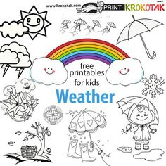Free Coloring Weather Coloring Pages Printable New at Weather Coloring Pages Teaching Weather, Weather Vocabulary, Free Games For Kids, Craft Activities For Kids, Baby Activities, Therapy Activities, Coloring For Kids, Coloring Pages For Kids, Weather Report For Kids