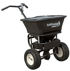 SaltDogg walk behind salt spreader is perfect for keeping your driveway and sidewalks safe during winter. The cu. Poly Hopper holds up to 100 lbs. of ice melt or bagged salt. The spreader has Walk Behind, Removal Tool, Wheelbarrow, Steel Frame, 3 D, Salt, Walking, Ice Melt, Black