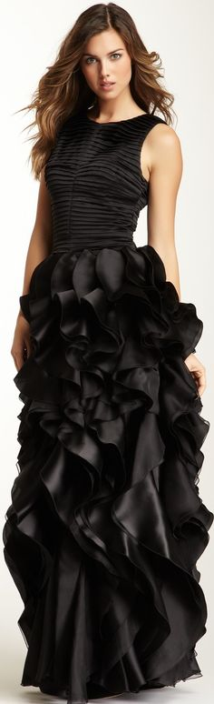 Halston Heritage Pleated Bodice Ruffle Gown