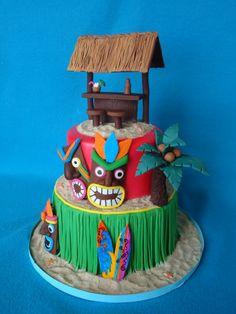 Ideas for a hawaiian birthday Luau Theme Party, Hawaiian Luau Party, Hawaiian Birthday, Tiki Party, Hawaiian Tiki, Art Party, Luau Birthday Cakes, Luau Cakes, Party Cakes