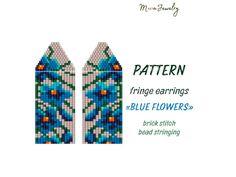 Beaded Earrings Native, Beaded Earrings Patterns, Macrame Earrings, Fringe Earrings, Jewelry Patterns, Beading Patterns, Etsy Earrings, Bead Earrings, Flower Earrings