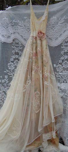 Lace Wedding Dress boho nude floral cream by vintageopulence