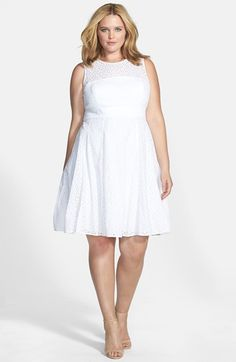 Eyelet Cotton Fit & Flare Dress