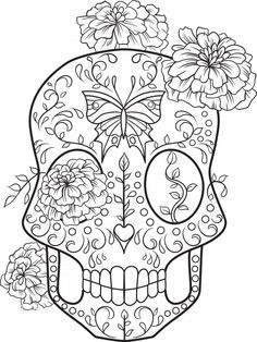 Sugar Skull Advanced Coloring 2 - KidsPressMagazine.com