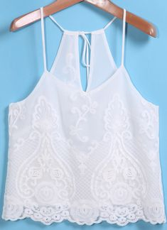 White Spaghetti Strap Lace Cami Top 11.00