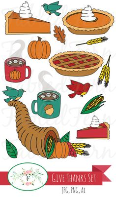 Give Thanks Fall Thanksgiving Clipart Set of 15 Autumn Design Element Clip Art, Art Vectors - Commercial or Personal Use JPG, PNG, Ai
