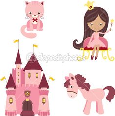 elementos de design princesa rosa — Ilustração de Stock #14235287