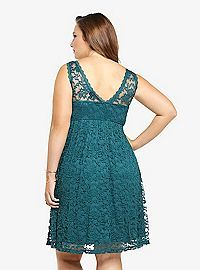 Love the color, love the style!  Love the dress!!!  Lace Illusion Empire Dress from Torrid