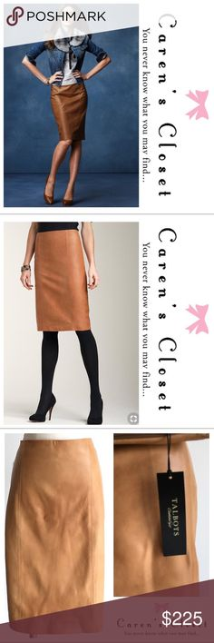 """NWT Talbots Camel Leather Pencil Skirt Size 14 NWT Talbots Camel Leather Pencil Skirt. Beautiful soft leather with back zip & vent. Fully Lined. Variations in the leather are inherent to the design. Measurements Laying Flat; Waist- 18""""Hips- 22"""" Length- 24"""". A chic & versatile Addison to any wardrobe. Wear it casual, work or dress it up for a night on the town. Bundle & Save $$ Talbots Skirts Pencil Brown Leather Skirt, Soft Leather, Fashion Design, Fashion Tips, Fashion Trends, Talbots, Camel, Size 14, Pencil"""