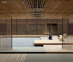 The detail in the architecture of the Le Meridien Hotel in Zhengzhou Architects: Neri and Hu Regram: Photo: Pedro Pegenaute by my_design_edit Zhengzhou, Patio Interior, Interior And Exterior, Le Style Zen, Neri And Hu, Zen Interiors, Store Interiors, Japanese Interior Design, Wood Interior Design