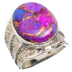 Large Purple Copper Composite Turquoise 925 Sterling Silver Ring Size 7.75 RING767278