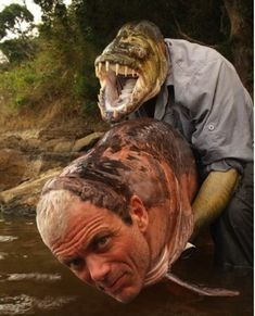 A daring catfish catches a man-sized river man: | The 29 Most Important Face Swaps Of All Time