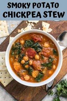 This Smoky Potato Chickpea Stew is a hearty and filling plant-based dish that will keep you full and warm this winter! Instapot Soup Recipes, Quick Soup Recipes, Creamy Soup Recipes, Broccoli Soup Recipes, Beef Soup Recipes, Cauliflower Soup Recipes, Soap Recipes, Chickpea Stew