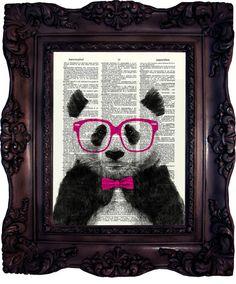 Panda Print Art. Dictionary art print. Vintage image. Print on book page. Panda in nerd. Panda decor. Home decor. by OldStyleDesign, $10.00