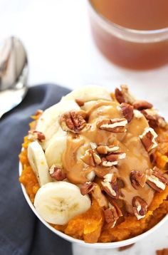 Mashed sweet potatoes with a hint of honey and cinnamon topped with warm peanut butter crunchy nuts and banana slices is one epically delicious breakfast bowl. Sweet Potato Breakfast, Breakfast Potatoes, Breakfast Bowls, Breakfast Meat, Banana Breakfast, Delicious Breakfast Recipes, Brunch Recipes, Gourmet Recipes, Sweet Potato Recipes Healthy