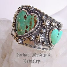 Schaef Designs turquoise heart & Sterling silver cuff bracelet | Collectible Native American Turquoise online Jewelry gallery | Schaef Designs Collectible artisan handcrafted Southwestern & Equine Jewelry | New Mexico