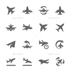 Planes Icons — JPG Image #arrival #business • Available here → https://graphicriver.net/item/planes-icons/9296419?ref=pxcr
