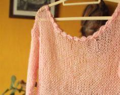 Punto de coral rojo mano recortada suéter de las mujeres por MyAqua