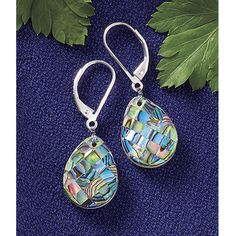 Mosaic Abalone Earrings- Best-Selling Gifts, Clothing, Accessories, Jewelry & Décor - Mosaic drop earrings are a dramatic combination of genuine abalone backed with luminous mother-of-pearl. Sterling silver lever backs.