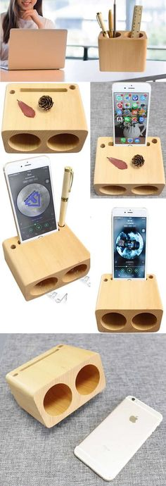 Wooden Pen Pencil Holder Office Desk Supplies Stationary Organizer iPhone Cell Phone Speaker Sound Amplifier iPhone SmartPhone Station Stand Dock Mount Holder