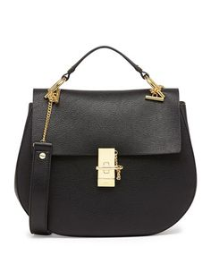 Drew Medium Calfskin Shoulder Bag, Black by Chloe at Bergdorf Goodman.