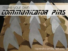 How to make your own Star Trek communicator pins for parties with spray paint, poster board and some pins.
