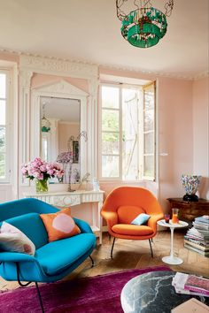 Sculptor Marie Christophe and her husband, interior designer Emmanuel Fenasse, brought life back to a 19th-century house in the French countryside—which had been empty for 20 years—with the help of brightly colored modern furnishings from Knoll