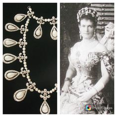 Grand Duchess Vladimir, seen here wearing a fabric kokoshnic hung with pear-shaped pearls surrounded by diamonds to the Coronation Ball held in honour of Tsar Nicholas II. These could also be worn as an impressive necklace Add A Pearl Necklace, Pearl And Diamond Necklace, Diamond Tiara, Diamond Cuts, Royal Crowns, Royal Tiaras, Tiaras And Crowns, Fountain Wedding Cakes, Princesa Real
