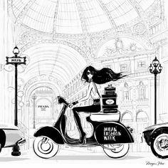 Milan Fashion Week - black and white illustration by Megan Hess Megan Hess Illustration, Illustration Sketches, London Illustration, Arte Fashion, Milan Fashion, Trendy Fashion, Pop Art, Kerrie Hess, Art Design