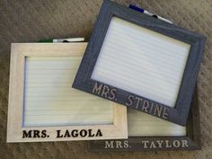 Use a picture frame to create a dry erase board. For kindergarten teachers, so we chose primary lined paper for inside.