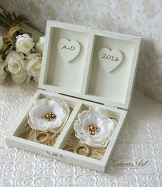 Personalized Ring Bearer Box Gold Wedding Ring Bearer Pillow Alternative Ivory Ring Bearer Box Wedding Ring Box - pinned by pin4etsy.com