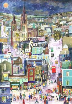 'Truro Late Night Shopping' - Serena's take on the Christmas scene in Truro, Cornwall. Print available + P&P from Cornwall Art Galleries, online as well as from Gallery Thirty One, Falmouth and Gallery St Ives. Landscape Art, Landscape Paintings, St Just, Seaside Art, City Illustration, Zen Art, Naive Art, Art Design, Artist Painting