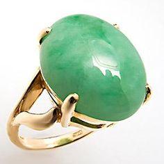 Large Natural Jadeite Jade Cabochon Cocktail Ring 18K Gold
