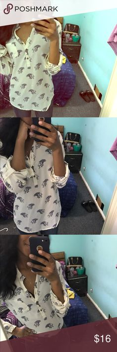 BOHO STYLE BUTTON DOWN Super cute BOHO style half button down, size small, has cute little elephants all over the blouse Forever 21 Tops