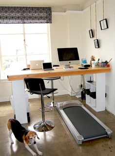 How to Build a Standing / Treadmill Desk - Party Singers - Live Music & Entertainment Office Desk Organization, Best Standing Desk, Standing Desks, Standing Chair, Treadmill Desk, Stand Up Desk, Sweet Home, Home Office Desks, Bedroom Decor