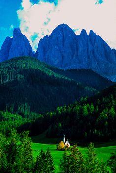 Alpine scene in the Dolomites, St. Magdalena (Sudtirol region), Northern Italy