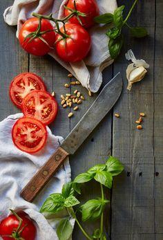 Food Styling * Prop Style * Rustic Italian * Tomatoes * Basil * Tablescape * Stylist: Josephine Castellano JosCast.com Photographer: Robert Petrie Dasroc