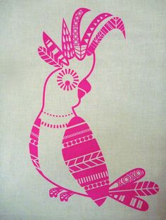 Screen Printed Cockatoo Priscilla Queen of the Burbs Pink on white essex linen by catandvee on Etsy https://www.etsy.com/listing/151234828/screen-printed-cockatoo-priscilla-queen