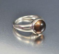 Georg Jensen Sterling Silver Ring Smoke Quartz Danish Modern Modernist Jewelry Brown Moonstone Ring on Etsy, $275.00